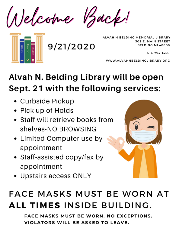 alvah n belding memorial library 302 e. main street belding mi 48809 616-794-1450 www.alvahnbeldinglibrary.org.png